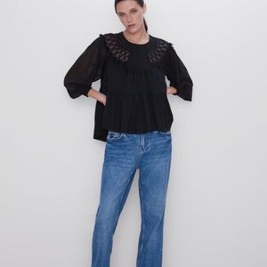 Zara Black Boho Tiered Embroidered Top Shirt Sz S